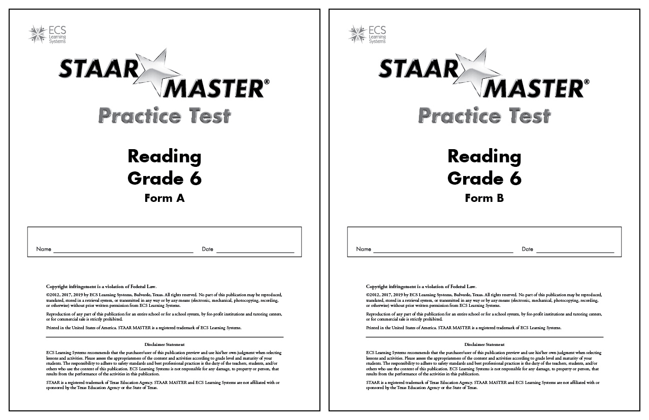 STAAR MASTER® Practice Tests Reading Gr 6 - Set of 30 ...